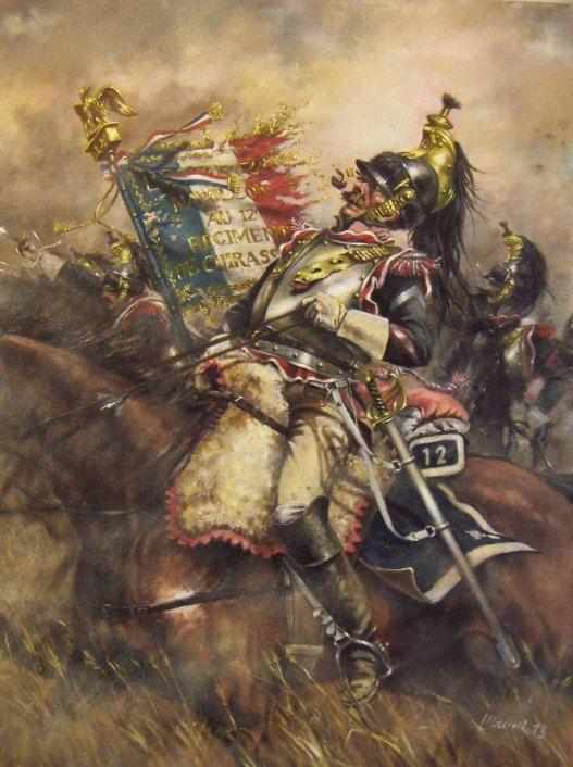 L'Aigle qui ne se soucie pas de la mitraille. Marechal des Logis Porta-Aquila de la XII cuirassiers, Waterloo 18 juin 1815.