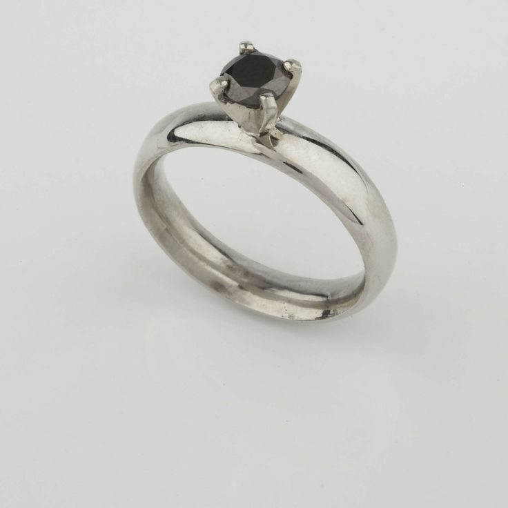 White Gold and Black Diamond Engagement Ring