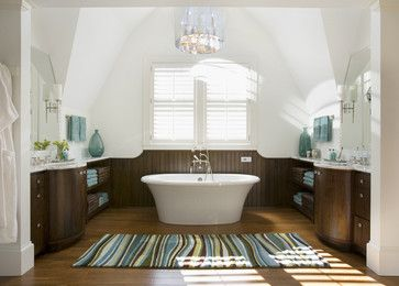 Now this is an interesting idea! Dark wood color beadboard on bottom and leave the top white...