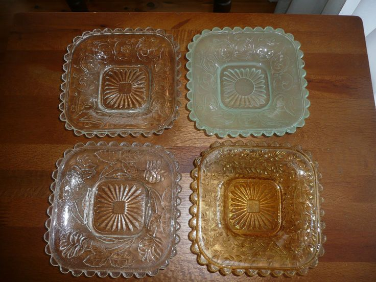 4 Vintage Depression Glass Square Butter Jam Cream Dishes Clear Green Amber