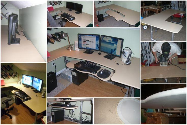 Wie kann man einen ergonomischen Schreibtisch selber bauen? Mit Rohren pipes als Untergestell. DIY desk