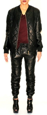 Black Luxe Leather Lounge pants