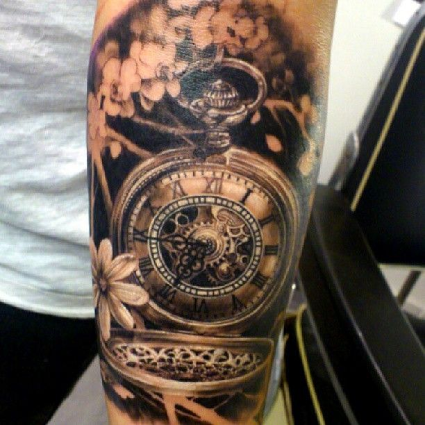 Pocket watch tattoo, great shading