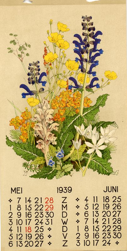 Voerman, Jan, Jr., illustrator. May/June 1939. Dutch calendar page.