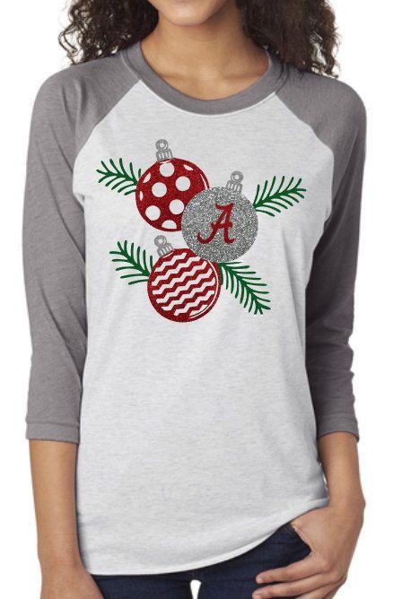 Alabama Christmas Ornament Raglan Shirt -- glitter or regular by Momonherown on Etsy