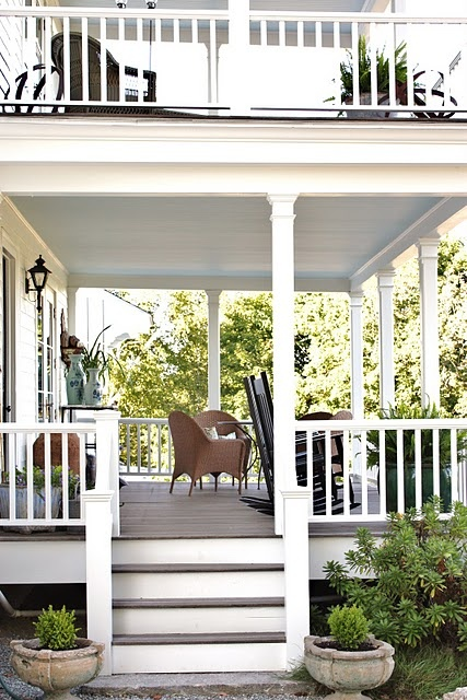 double decker porch: upstairs screened in for sleeping porch would be perfect