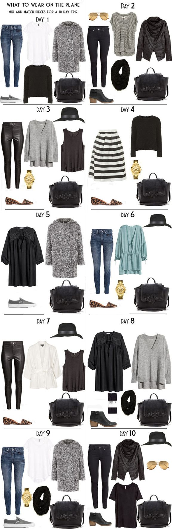 10 Days in Stockholm Day Outifts - except in color. Black and gray = dreary and depressing