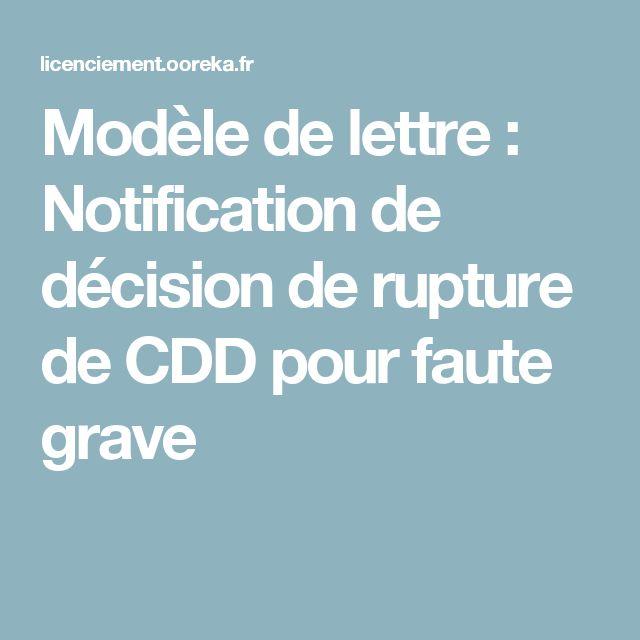 Modèle de lettre : Notification de décision de rupture de CDD pour faute grave
