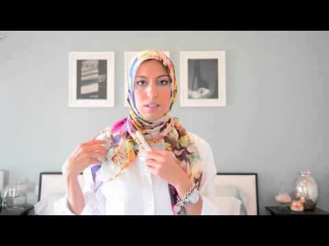 Spring/Summer Knotted neck-tie square scarf hijab tutorial.