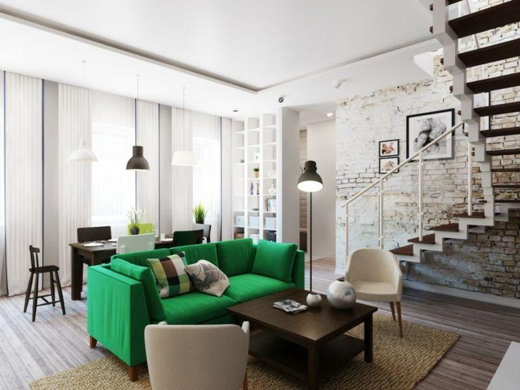 grünes sofa im zeitgenössischen wohnzimmer und