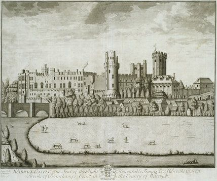 Warwick Castle, the seat of ... Lord Brooke, from T. Badeslade & J. Rocque's 'Vitruvius Brittanicus, volume the fourth', London 1739  James Fish of Warwick (fl. ca. 1690-94?)  © Royal Academy of Arts, London