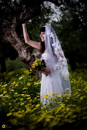 Magea Veil in the Mani olive groves - Nymphi Design Bridal Accessories - Greece