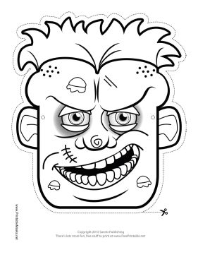 cyclops mask template - male zombie mask to color printable mask free to download