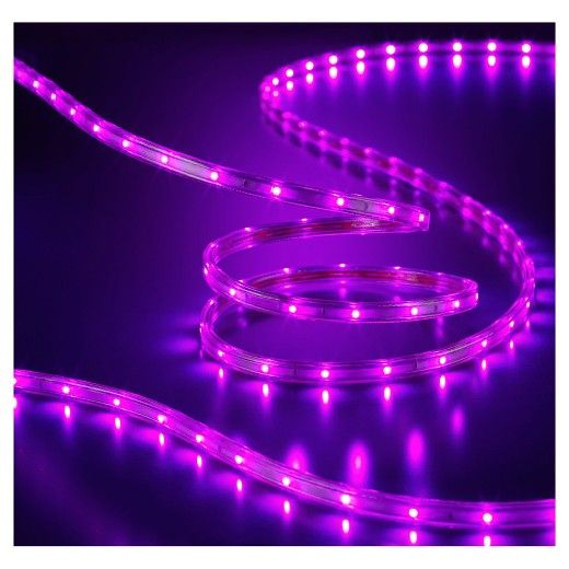 Create a spooky glow to your Halloween decorations with this Philips LED Flat Rope in purple color. This 15' rope is flexible, easy to install, and suitable for flat surfaces and straight decorations such as around doorways, pathways and eaves. Connect multiple sets of ropes up to 270' in length. With up to 25,000 hours of bulb life, these rope lights end up paying for themselves in the cost of replacements.