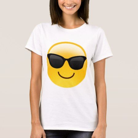 Smiling Face With Sunglasses Cool Emoji T-Shirt - click/tap to personalize and buy