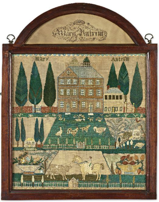 """""""In 1807, a New Jersey schoolgirl named Mary Antrim embroidered a farm scene[above] with silk thread on linen. On Sunday, Sotheby's in New York sold her view of livestock, picket fences and clapboarded outbuildings for 1.07 million dollars, setting an auction record for a needlework sampler.: 1807, Antiques Sampler, Burlington County, Betty Rings, Linens, Crosses Stitches, Needlework Sampler, Mary Antrim, New Jersey"""