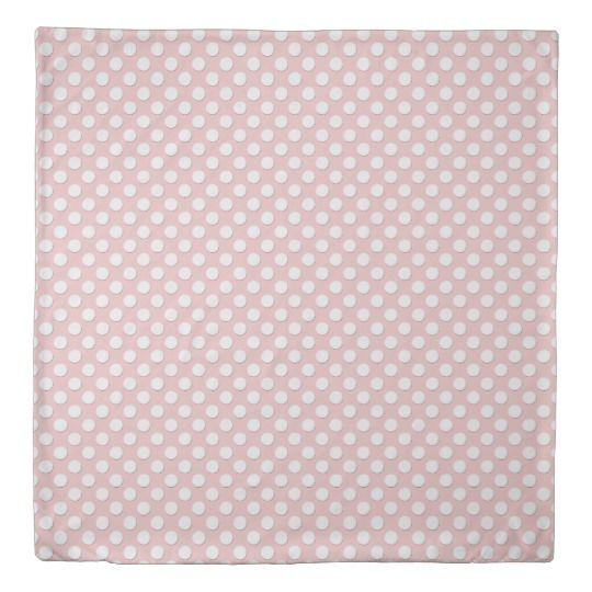 White Polka Dots Rose Quartz Pink Duvet Cover