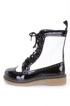 Black and white combat boots