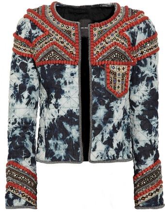 Isabel Marant - Weez Embellished Tiedye Quilted Denim Jacket 4670.00