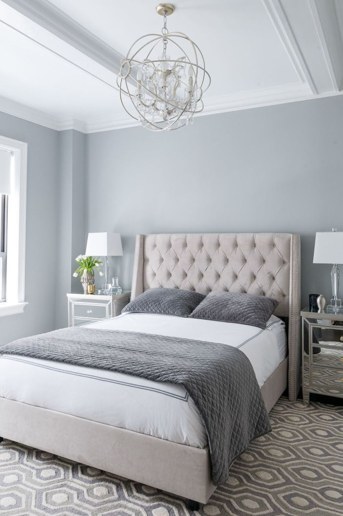 Mirrored accents, beautiful bed and love all the calming greys! #homedecor…