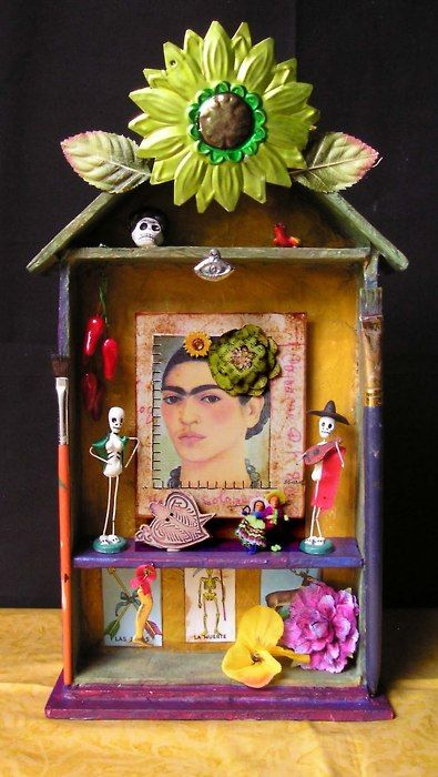 Frida Kahlo shrine LOVE this idea going to do several and put them around my house :-)