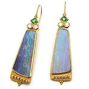 Paula Crevoshay Natural Opal Split Tsavorite Garnet & Diamond Chandelier Earrings Solid 18K Gold