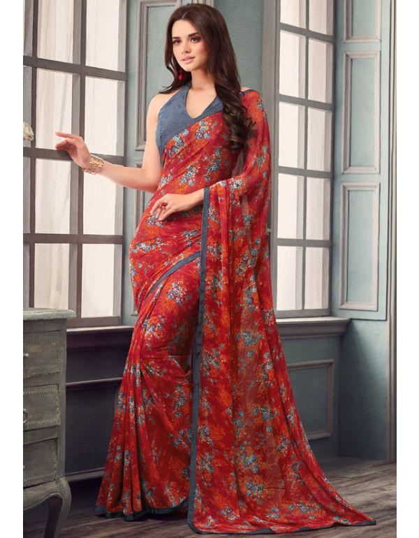 b6571d7ae9 Rust Red Floral Print Saree   Printed Sarees   Floral print sarees ...