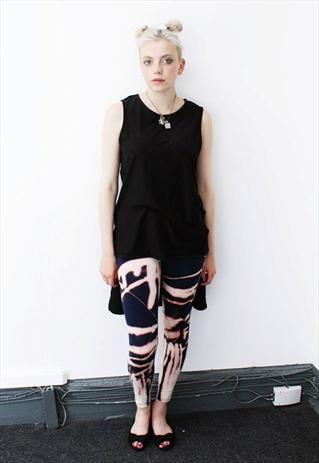 Navy striped grunge tie dye boho leggings  from Pretty Disturbia £10