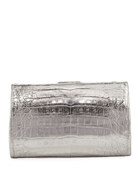 NANCY GONZALEZ Metallic Crocodile Slim Frame Clutch Bag, Gray. #nancygonzalez #bags #lining #clutch #metallic #suede #hand bags #