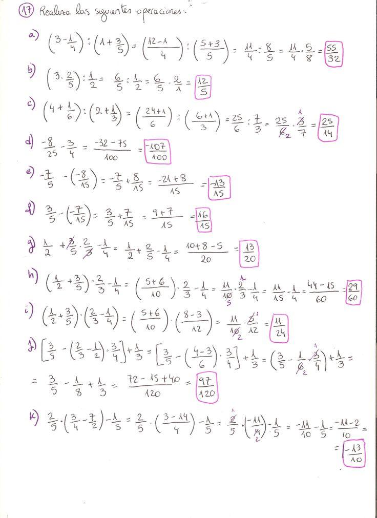 Ejercicios resueltos operaciones con fracciones. Grado Superior de Matemática. Parte 1