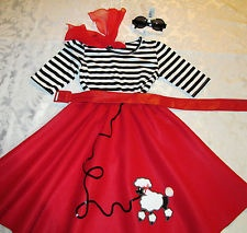 "RED Poodle Skirt COSTUME Girl's Sz.Sm.18""L 5 pcs. HALLOWEEN STRIPED Shirt!"