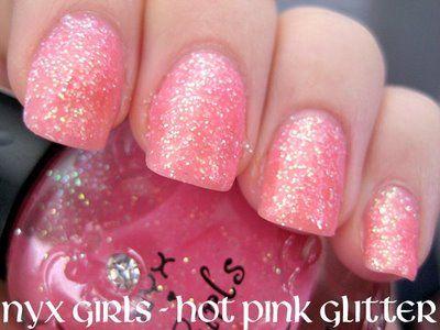 Glittery pink fingernail polish.Pink Pink Pink, Pink Sparkle, Pink Glitter Nails, Soft Pink, Pink Nails, Glittery Pink, Hot Pink, Nails Polish, Sparkly Nails