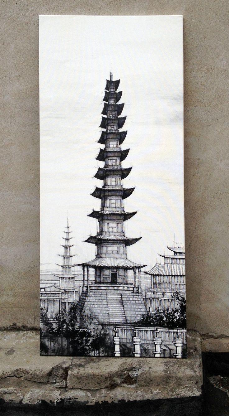 Věž - kresba na plátno