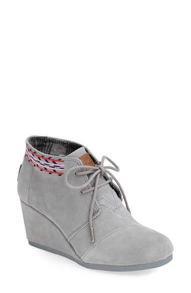 TOMS 'Desert' Suede Wedge Bootie (Women) available at #Nordstrom