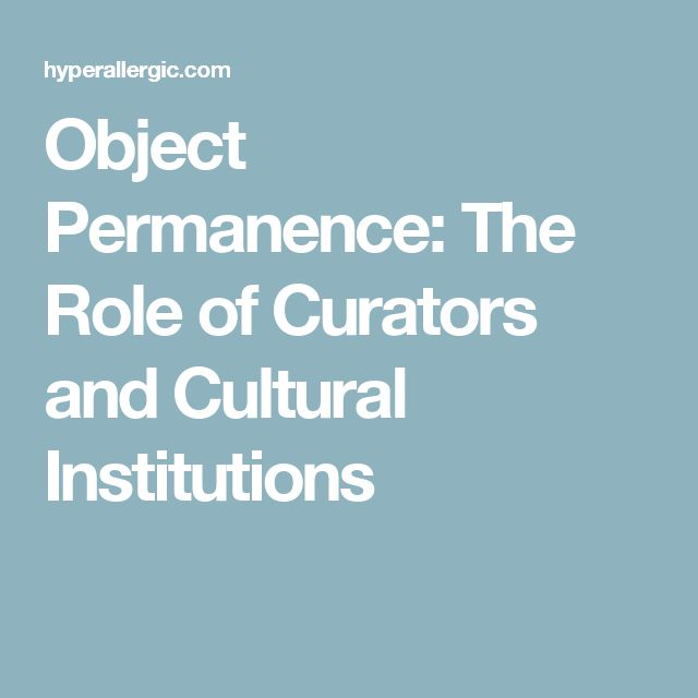 Object Permanence: The Role of Curators and Cultural Institutions