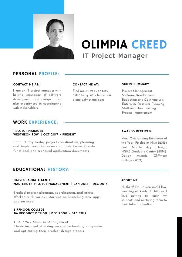Free Project Manager Cv Template Cv Template Cv Template Free Templates