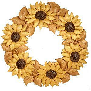 PS Wood Machines - SUNFLOWER WREATH Intarsia Pattern, $10.00 (http://www.pswood.com/sunflower-wreath/)