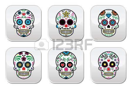 Crâne de sucre mexicain, boutons Dia de los Muertos