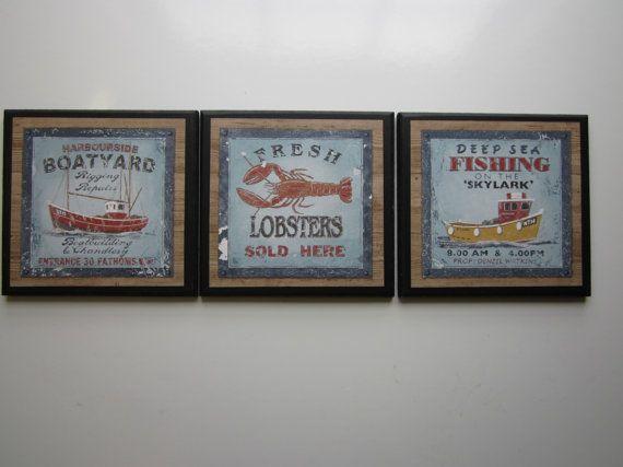 Deep Sea Fishing signs nautical style 3pc by ozarkmtnhomestead, $17.97