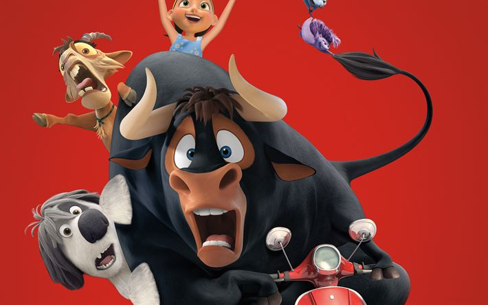 Download wallpapers Ferdinand, Lupe, Paco, Nina, Una, 2017 movie, adventure, 3d-animation