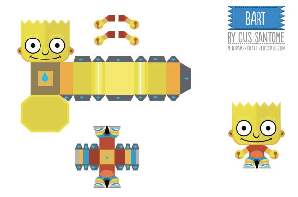 Blog Paper Toy papertoys Simpsons Bart template preview Papertoys Simpsons de Gus Santome (x5)