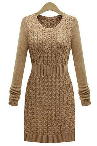 Stylish Solid Color Long Sleeve Bodycon Sweater Dress For Women Sweater Dresses | RoseGal.com Mobile