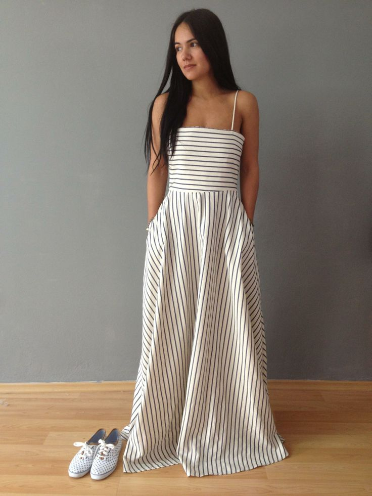 Walk in Style with our Tsipoura Dress!!!  #madameshoushou #madame shou shou  #longdress #dress #stripes #keds #polkadots #romantic