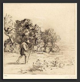 Alphonse Legros, Peddler (Le colporteur), French, 1837 - 1911, drypoint (Alphonse Legros, Peddler (Le colporteur), French, 1837 - 1911, drypoint)