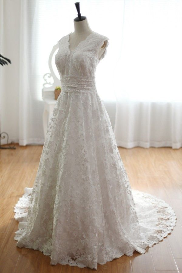 Vintage Inspired Lace  Wedding Dress with Cathedral Train V Neckline Bridal Gown