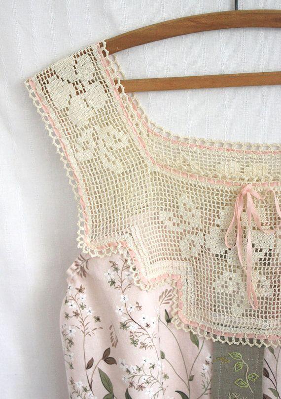 Equipo de tagt camisola tanque mano bordado ropa Vintage Crochet yugo Flower Garden
