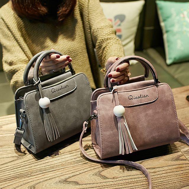 Top Sale $16.35, Buy Free shipping, 2017 new women handbags, simple fashion flap, trend tassel woman messenger bag, Korean version shoulder bag.
