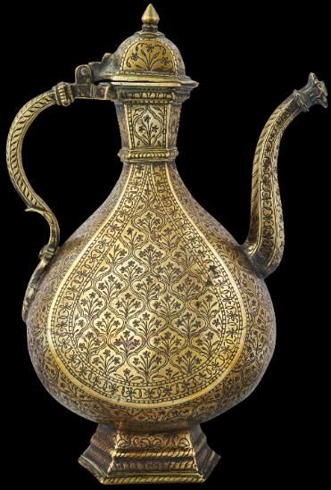 Mughal Brass Ewer, Engraved with Dark Lac Inlay Northern India (probably Lahore) mid 17th to early 18th century