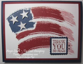 Work of Art Wavy Flag CASE from Sandi MacIver - work of art, dazzling diamonds glimmer paper, stars & stripes, flag, old glory, 4th of july, independence day, july 4th, thank you, military, stampin up, cards  Details at www.toocoolstamping.com