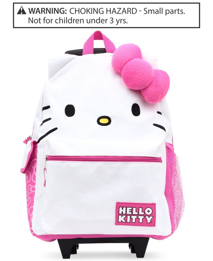 Hello Kitty Girls' or Little Girls' Rolling Backpack with Plush Bow